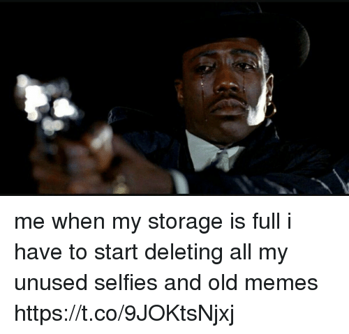 Funny, Memes, and Old: me when my storage is full i have to start deleting all my unused selfies and old memes https://t.co/9JOKtsNjxj