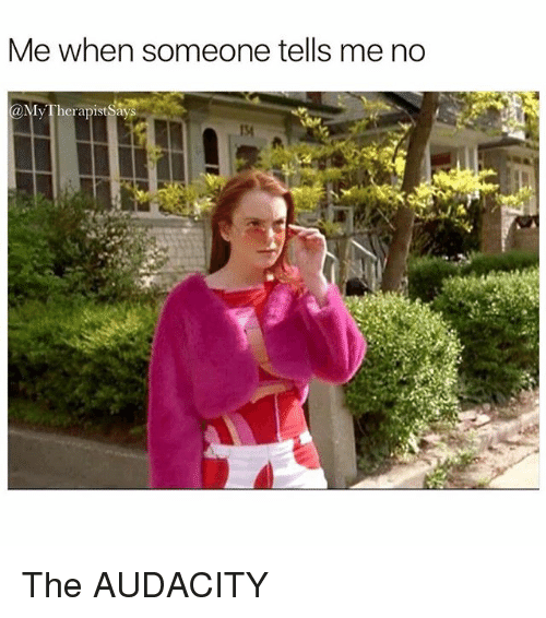 Audacity, Girl Memes, and Someone: Me when someone tells me no  @My Therapist Says  134 The AUDACITY