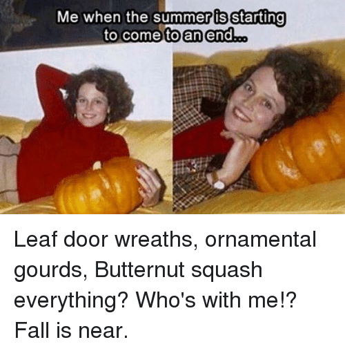 gourds: Me when the summer is starting  toan end.oo  to comel Leaf door wreaths, ornamental gourds, Butternut squash everything? Who's with me!?  Fall is near.