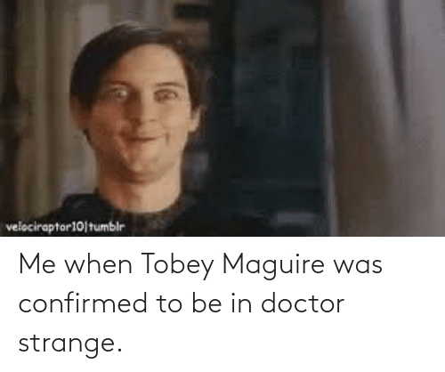 Tobey Maguire: Me when Tobey Maguire was confirmed to be in doctor strange.