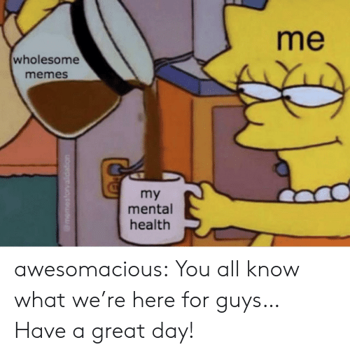 Wholesome Memes: me  wholesome  memes  my  mental  health awesomacious:  You all know what we're here for guys… Have a great day!