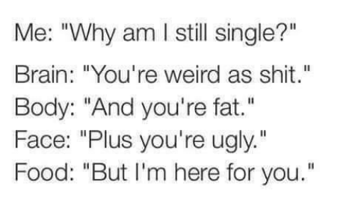 """Brains, Food, and Memes: Me: """"Why am l still single?""""  Brain: """"You're weird as shit.""""  Body: """"And you're fat.""""  Face: """"Plus you're ugly.""""  Food: """"But I'm here for you."""""""