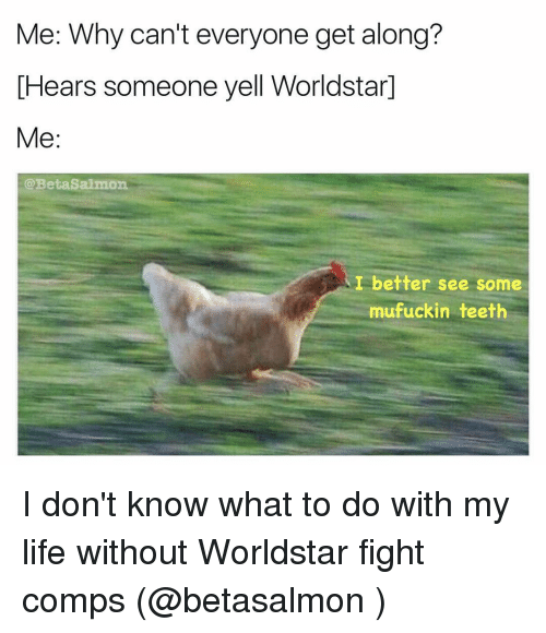 Memes, Worldstar Fights, and Salmon: Me: Why can't everyone get along?  IHears someone yell Worldstard  Me  @Beta Salmon  I better see some  mufuckin teeth I don't know what to do with my life without Worldstar fight comps (@betasalmon )