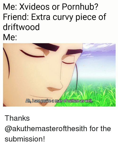 driftwood: Me: Xvideos or Pornhub?  Friend: Extra curvy piece of  driftwood  Me:  Ah, Isee youre a man of culture as well <p>Thanks @akuthemasterofthesith for the submission!</p>