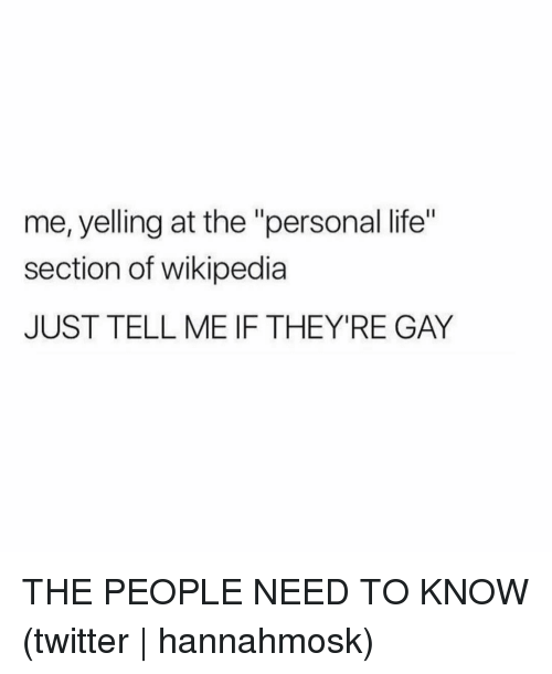 "Life, Twitter, and Wikipedia: me, yelling at the ""personal life""  section of wikipedia  JUST TELL ME IF THEY'RE GAY THE PEOPLE NEED TO KNOW (twitter 
