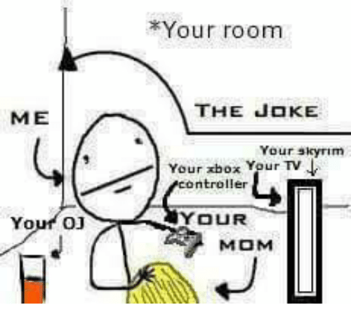 oj your room the joke your skyrim your xbox yeur tv ntroller your mom