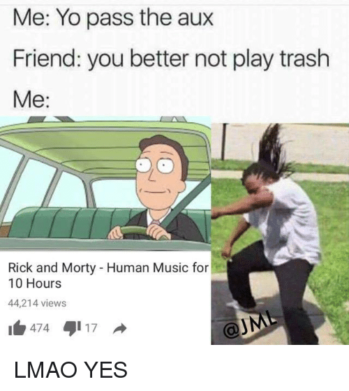 Friends, Lmao, and Music: Me: Yo pass the aux  Friend: you better not play trash  Me:  Rick and Morty Human Music for  10 Hours  44,214 views  474  17 LMAO YES
