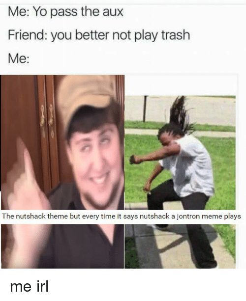 Friends, Trash, and Yo: Me: Yo pass the aux  Friend: you better not play trash  Me  The nutshack theme but every time it says nutshack a jontron meme plays me irl