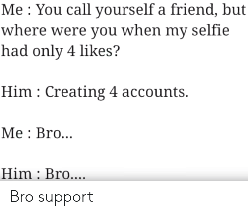 selfie: Me You call yourself a friend, but  where were you when my selfie  had only 4 likes?  Him Creating 4 accounts.  Мe: Bro...  Him Bro.... Bro support