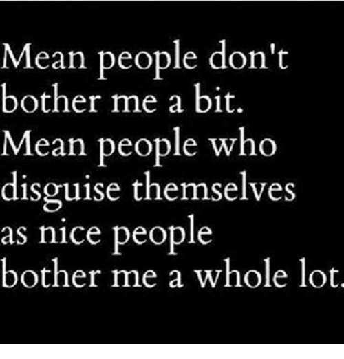 Nice: Mean people don't  bother me a bit.  Mean people who  disguise themselves  as nice people  bother me a whole lot.