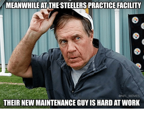 Memes, 🤖, and Steeler: MEANWHILE AT  STEELERS PRACTICE FACILITY  NFL MEMES  THEIR NEWMAINTENANCE GUY IS HARD AT WORK