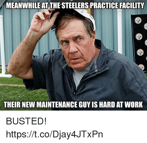 Hard At Work: MEANWHILE AT THE STEELERS PRACTICE FACILITY  THEIR NEW MAINTENANCE GUY IS HARD AT WORK BUSTED! https://t.co/Djay4JTxPn