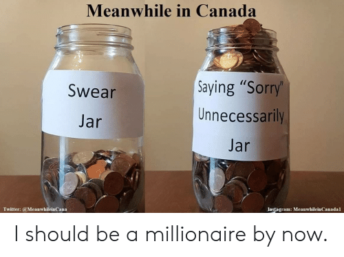 "jar jar: Meanwhile in Canada  Saying ""Sorry'  Unnecessarily  Swear  Jar  Jar  Instagram: MeanwhileinCanadal  Twitter:@MeanwhileinCana I should be a millionaire by now."