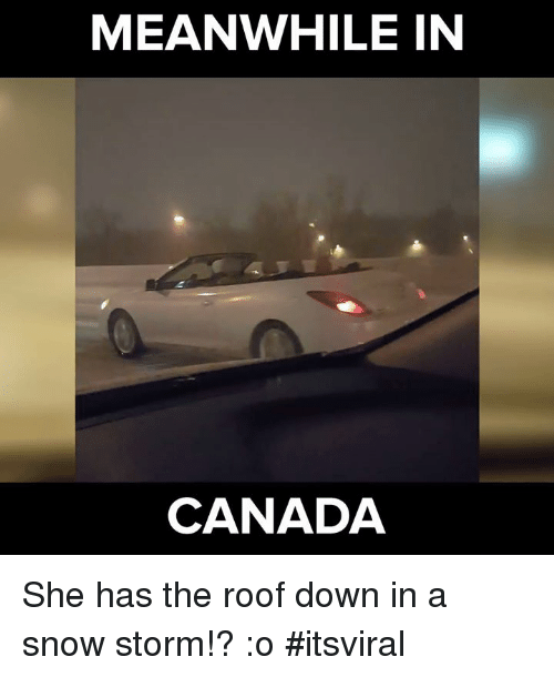 meanwhile in canada: MEANWHILE IN  CANADA She has the roof down in a snow storm!? :o #itsviral