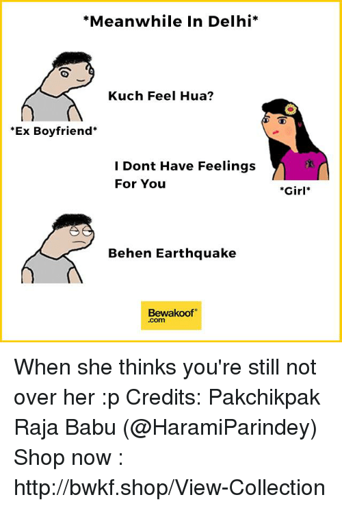 Babues: *Meanwhile In Delhi  Kuch Feel Hua?  Ex Boyfriend  I Dont Have Feelings  For You  Behen Earthquake  Bewakoof  .com  *Girl When she thinks you're still not over her :p Credits: Pakchikpak Raja Babu (@HaramiParindey)  Shop now : http://bwkf.shop/View-Collection