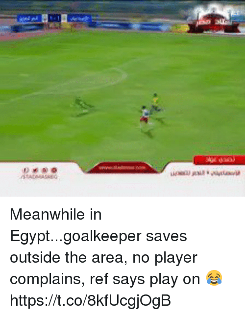 Soccer, Egypt, and Player: Meanwhile in Egypt...goalkeeper saves outside the area, no player complains, ref says play on 😂 https://t.co/8kfUcgjOgB