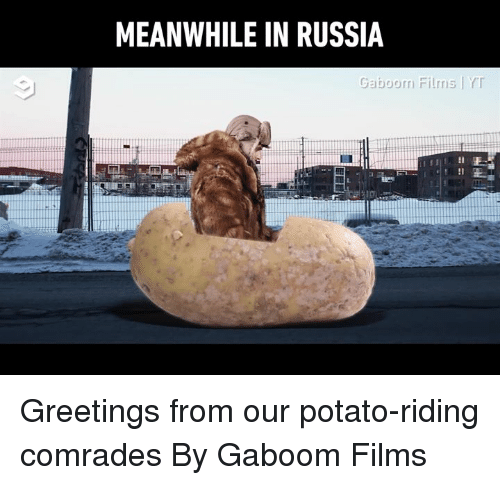 Dank, Potato, and Russia: MEANWHILE IN RUSSIA  Gaboom Films Y Greetings from our potato-riding comrades  By Gaboom Films