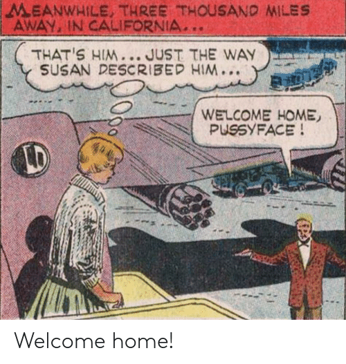 welcome-home: MEANWHILE, THREE THOUSAND MILES  AWAY, IN CALIFORNIA  THAT'S HIM... JUST THE WAY  SUSAN DESCRIBED HIM...  WELCOME HOME  PUSSYFACE!  LD Welcome home!