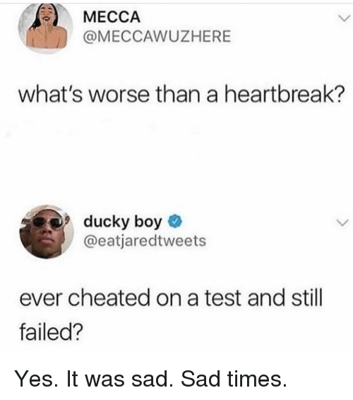 mecca: MECCA  @MECCAWUZHERE  what's worse than a heartbreak?  9ducky boy  @eatjaredtweets  ever cheated on a test and still  failed? Yes. It was sad. Sad times.