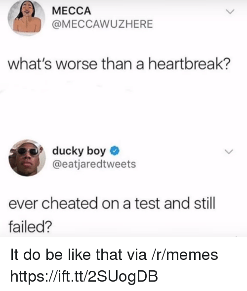 mecca: MECCA  @MECCAWUZHERE  what's worse than a heartbreak?  ducky boy  @eatjaredtweets  ever cheated on a test and still  failed? It do be like that via /r/memes https://ift.tt/2SUogDB