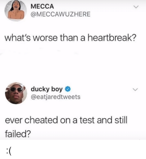 mecca: MECCA  @MECCAWUZHERE  what's worse than a heartbreak?  ducky boy  @eatjaredtweets  ever cheated on a test and still  failed? :(