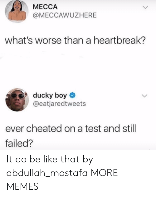 mecca: MECCA  @MECCAWUZHERE  what's worse than a heartbreak?  ducky boy  @eatjaredtweets  ever cheated on a test and still  failed? It do be like that by abdullah_mostafa MORE MEMES