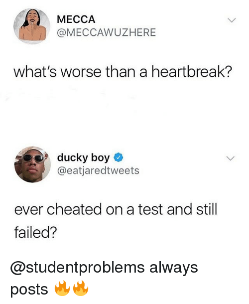 Memes, Test, and Boy: MECCAAWUZHERE  what's worse than a heartbreak?  9 ducky boy  @eatjaredtweets  ever cheated on a test and still  failed? @studentproblems always posts 🔥🔥