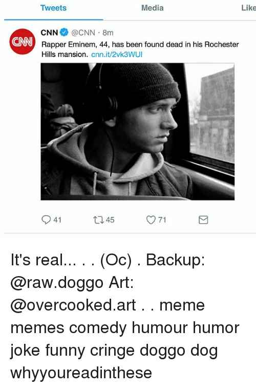 cnn.com, Eminem, and Funny: Media  Like  Tweets  CNN @CNN 8m  Rapper Eminem, 44, has been found dead in his Rochester  Hills mansion. cnn.it/2vk3WUI  CNN  41  45  71 It's real... . . (Oc) . Backup: @raw.doggo Art: @overcooked.art . . meme memes comedy humour humor joke funny cringe doggo dog whyyoureadinthese