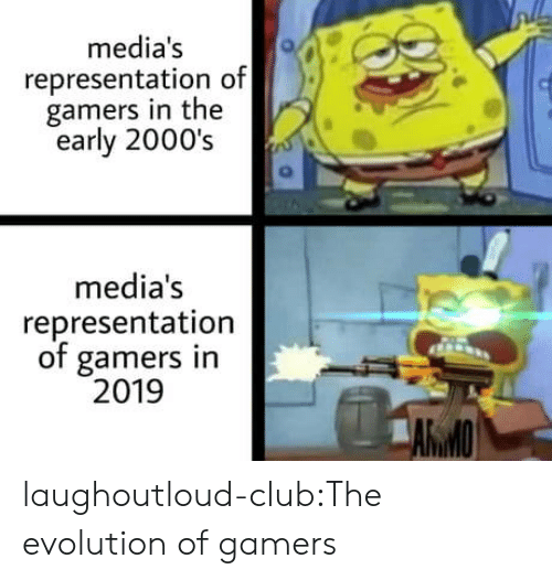 2000s: media's  representation of  gamers in the  early 2000's  media's  representation  of gamers in  2019  AWMO laughoutloud-club:The evolution of gamers