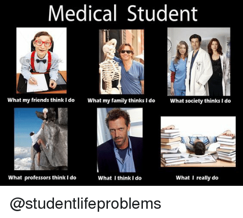 I Think I Do: Medical Student  What my friends think ldo  What my family thinks I do  What society thinks I do  What professors think I do  What I think I do  What I really do @studentlifeproblems