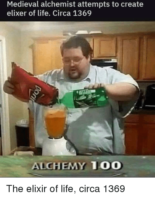 Alchemy: Medieval alchemist attempts to create  elixer of life. Circa 1369  ALCHEMY T00 The elixir of life, circa 1369