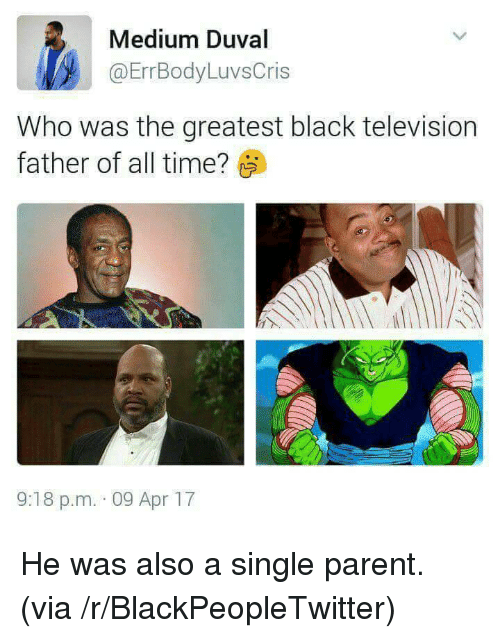 single parent: Medium Duval  @ErrBodyLuvsCris  Who was the greatest black television  father of all time?  9:18 p.m. 09 Apr 17 <p>He was also a single parent. (via /r/BlackPeopleTwitter)</p>