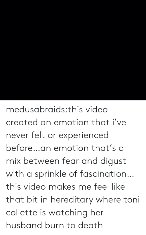 Sprinkle: medusabraids:this video created an emotion that i've never felt or experienced before…an emotion that's a mix between fear and digust with a sprinkle of fascination…this video makes me feel like that bit in hereditary where toni collette is watching her husband burn to death