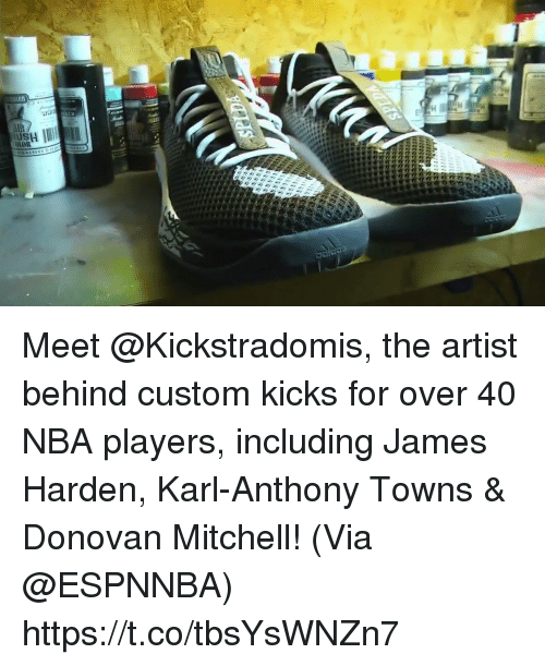 Sizzle: Meet @Kickstradomis, the artist behind custom kicks for over 40 NBA players, including James Harden, Karl-Anthony Towns & Donovan Mitchell!   (Via @ESPNNBA) https://t.co/tbsYsWNZn7