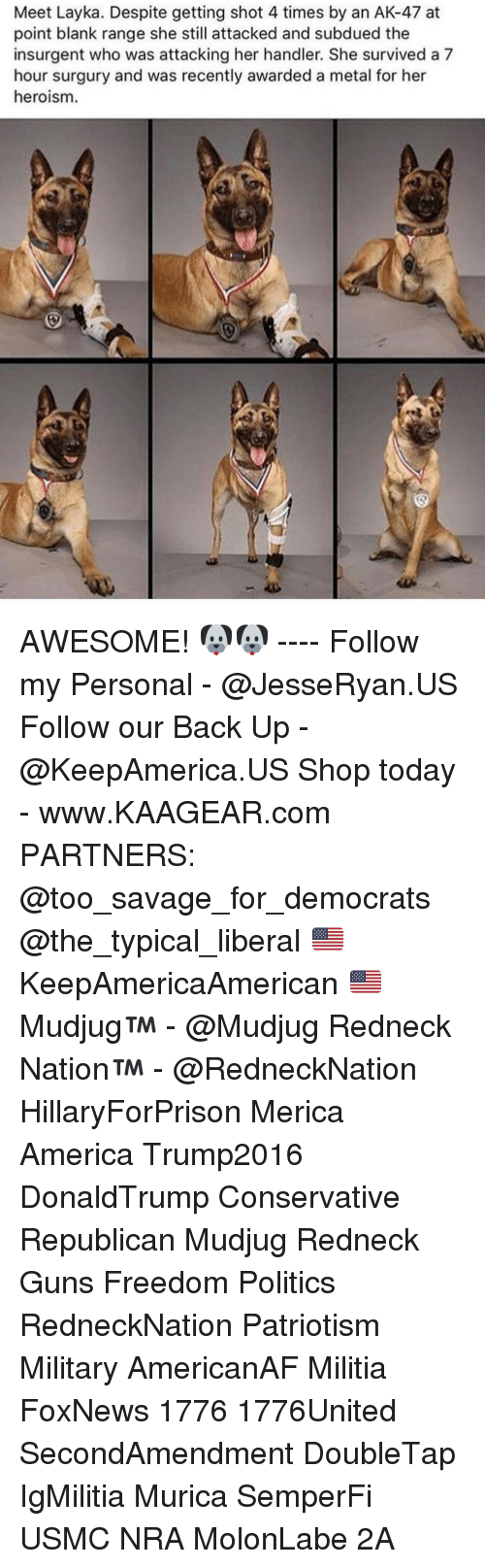 America, Guns, and Memes: Meet Layka. Despite getting shot 4 times by an AK-47 at  point blank range she still attacked and subdued the  insurgent who was attacking her handler. She survived a 7  hour surgury and was recently awarded a metal for her  heroism AWESOME! 🐶🐶 ---- Follow my Personal - @JesseRyan.US Follow our Back Up - @KeepAmerica.US Shop today - www.KAAGEAR.com PARTNERS: @too_savage_for_democrats @the_typical_liberal 🇺🇸 KeepAmericaAmerican 🇺🇸 Mudjug™ - @Mudjug Redneck Nation™ - @RedneckNation HillaryForPrison Merica America Trump2016 DonaldTrump Conservative Republican Mudjug Redneck Guns Freedom Politics RedneckNation Patriotism Military AmericanAF Militia FoxNews 1776 1776United SecondAmendment DoubleTap IgMilitia Murica SemperFi USMC NRA MolonLabe 2A