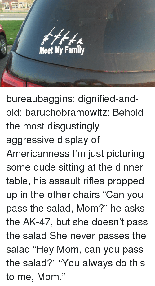 "Assault Rifles: Meet My Family bureaubaggins:  dignified-and-old:  baruchobramowitz:  Behold the most disgustingly aggressive display of Americanness  I'm just picturing some dude sitting at the dinner table, his assault rifles propped up in the other chairs ""Can you pass the salad, Mom?"" he asks the AK-47, but she doesn't pass the salad She never passes the salad  ""Hey Mom, can you pass the salad?""      ""You always do this to me, Mom."""