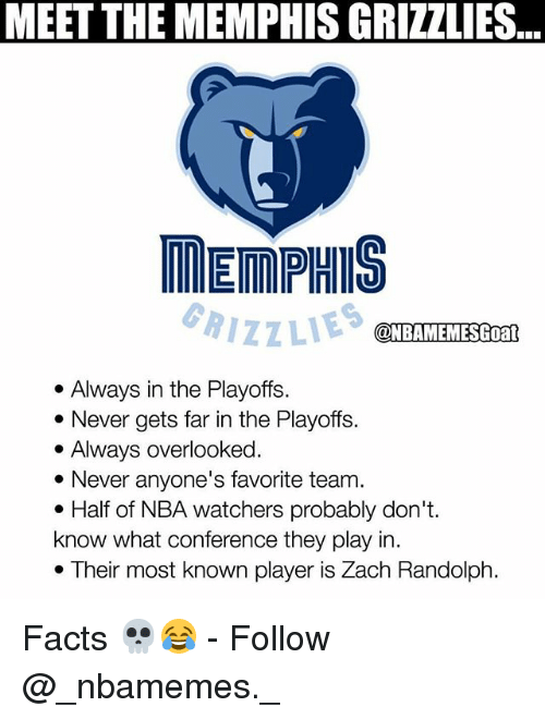 Facts, Memphis Grizzlies, and Memes: MEET THE MEMPHIS GRIZZLIES  ..  MEMPHIS  RIZZLIES  @NBAMEMESGoat  . Always in the Playoffs.  * Never gets far in the Playoffs.  . Always overlooked  * Never anyone's favorite team.  . Half of NBA watchers probably don't.  know what conference they play in.  . Their most known player is Zach Randolph. Facts 💀😂 - Follow @_nbamemes._
