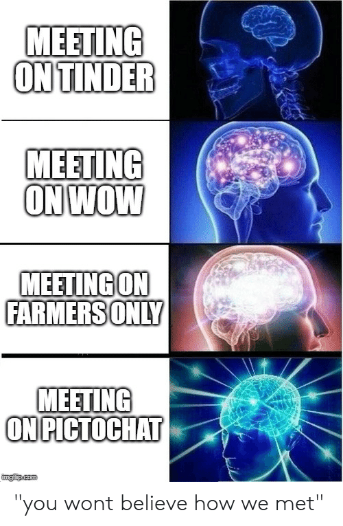"""farmersonly: MEETING  ON TINDER  MEETING  ON WOW  MEETING ON  FARMERSONLY  MEETING  ON PICTOCHAT  imgfip.com """"you wont believe how we met"""""""