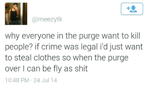 The Purge: @meezytk  why everyone in the purge want to kill  people? if crime was legal i'd just want  to steal clothes so when the purge  over l can be fly as shit  10:48 PM-24 Jul 14