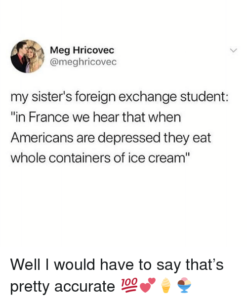 """foreign exchange: Meg Hricovec  @meghricovec  my sister's foreign exchange student:  """"in France we hear that when  Americans are depressed they eat  whole containers of ice cream"""" Well I would have to say that's pretty accurate 💯💕🍦🍨"""