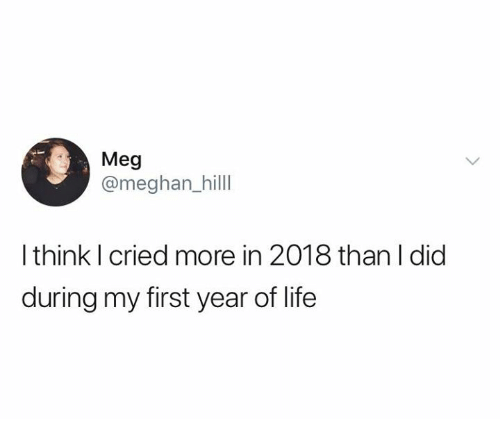 Meghan: Meg  @meghan_hilll  I think I cried more in 2018 than I did  during my first year of life