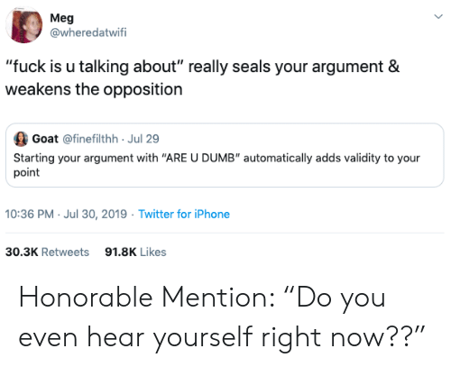 "honorable: Meg  @wheredatwifi  ""fuck is u talking about"" really seals your argument &  weakens the opposition  Goat @finefilthh Jul 29  Starting your argument with ""ARE U DUMB"" automatically adds validity to your  point  10:36 PM- Jul 30, 2019 Twitter for iPhone  30.3K Retweets  91.8K Likes Honorable Mention: ""Do you even hear yourself right now??"""