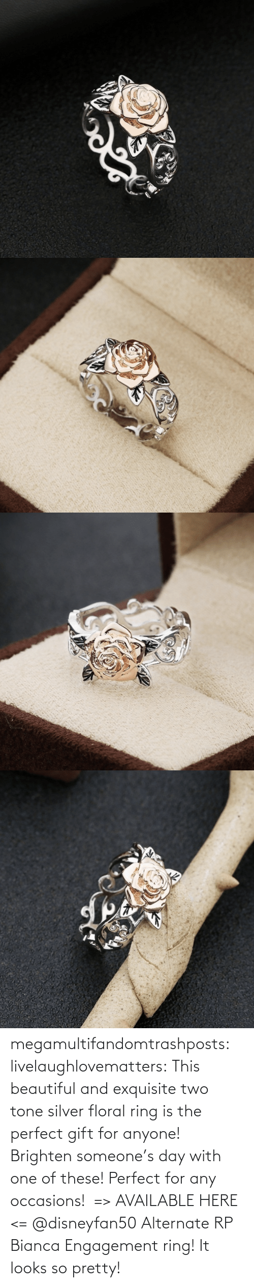 ring: megamultifandomtrashposts:  livelaughlovematters: This beautiful and exquisite two tone silver floral ring is the perfect gift for anyone! Brighten someone's day with one of these! Perfect for any occasions!  => AVAILABLE HERE <=    @disneyfan50 Alternate RP Bianca Engagement ring! It looks so pretty!
