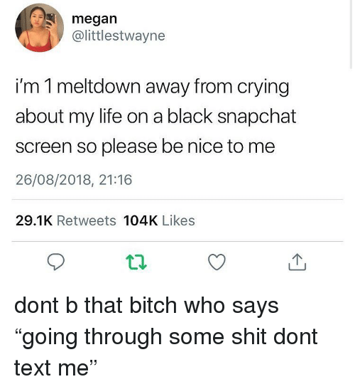 """meltdown: megan  @littlestwayne  i'm 1 meltdown away from crying  about my life on a black snapchat  screen so please be nice to me  26/08/2018, 21:16  29.1K Retweets 104K Likes dont b that bitch who says """"going through some shit dont text me"""""""