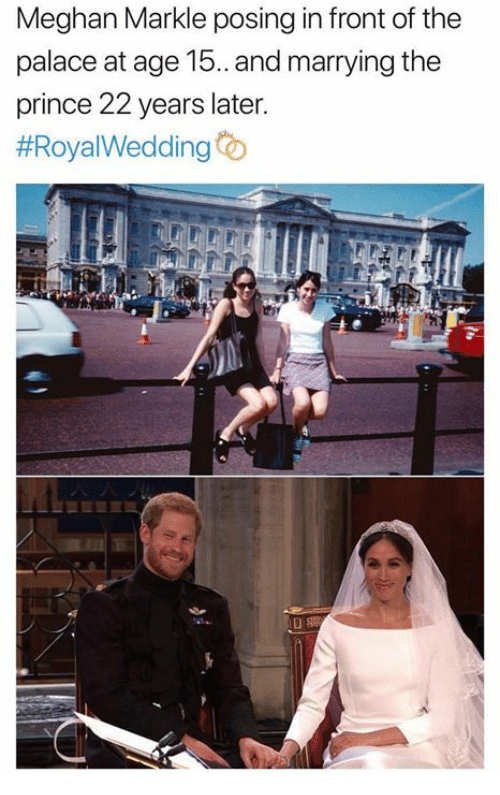 Prince, The Prince, and Palace: Meghan Markle posing in front of the  palace at age 15. and marrying the  prince 22 years later.