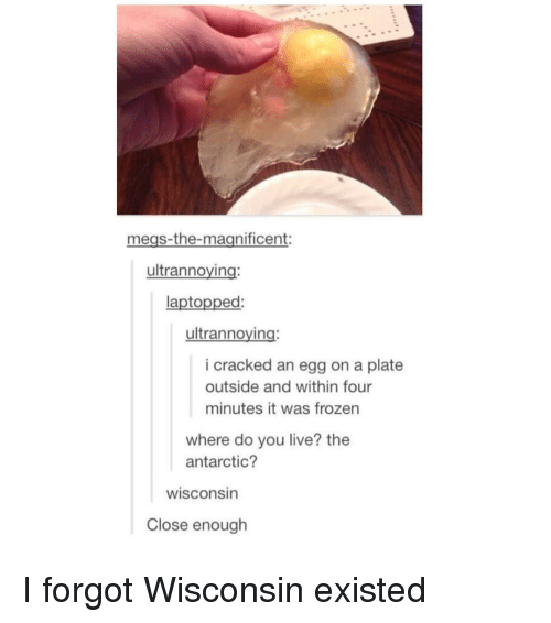 antarctic: megs-the-magnificent:  ultrannoying  laptopped:  ultrannoying:  i cracked an egg on a plate  outside and within four  minutes it was frozen  where do you live? the  antarctic?  wisconsin  Close enough I forgot Wisconsin existed