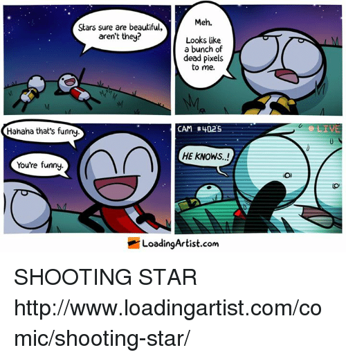 Beautiful, Meh, and Memes: Meh.  Stars sure are beautiful,  aren't they?  Looks like  a bunch of  dead pixels  to me.  CAM #402S  Hahaha that's funny  HE KNOWS..!  You're funny.  LoadingArtist.com  O) SHOOTING STAR http://www.loadingartist.com/comic/shooting-star/