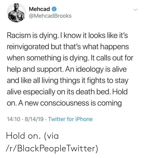 Ideology: Mehcad  @MehcadBrooks  Racism is dying. I know it looks like it's  reinvigorated but that's what happens  when something is dying. It calls out for  help and support. An ideology is alive  and like all living things it fights to stay  alive especially on its death bed. Hold  on. A new consciousness is coming  14:10 8/14/19 Twitter for iPhone Hold on. (via /r/BlackPeopleTwitter)