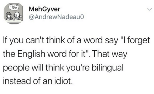 "Word, English, and Idiot: MehGyver  @AndrewNadeau0  pens  If you can't think of a word say ""I forget  the English word for it. That way  people will think you're bilingual  instead of an idiot."
