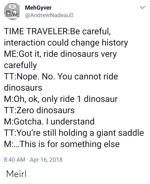 Dinosaurs: MehGyver  @AndrewNadeau0  Pens!  TIME TRAVELER:Be careful,  interaction could change history  ME:Got it, ride dinosaurs very  carefully  TT:Nope. No. You cannot ride  dinosaurs  M:Oh, ok, only ride 1 dinosaur  TT:Zero dinosaurs  M:Gotcha. I understand  TT:You're still holding a giant saddle  M:..This is for something else  8:40 AM · Apr 16, 2018 Meirl